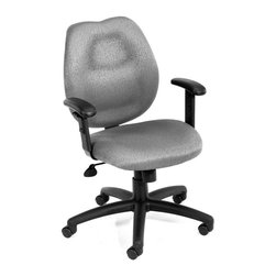 """BOSS Chair - Task Chair w Adjustable Arms in Grey - Mid-back styling with firm lumbar support. Elegant styling upholstered with commercial grade fabric. Sculptured seat cushion made from molded foam that contour to the shape of your body. Ratchet back height adjustment mechanism which allows perfect positioning of the back cushion and lumbar support. Optional adjustable height armrests. Large 27"""" nylon base for greater stability. Pneumatic gas lift provides instant height adjustment of the seat. Adjustable tilt tension that accommodates all different size users. Hooded double wheel casters. Upright locking position. Cushion color: Grey. Base/wood: Black. Seat size: 20 in. W x 19 in. D. Seat height: 18.5 in. -22 in. H. Arm height: 25.5 in. -32 in. H. Overall dimension: 26 in. W x 27 in. D x 36.5-42 in. H. Weight capacity: 250 lbs"""