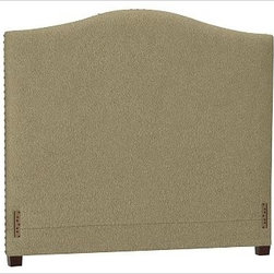 """Raleigh Nailhead Camelback Headboard, King, everydaysuede(TM) Jadestone - Crafted by our own master upholsterers in the heart of North Carolina, our upholstered bed and headboard is available in a graceful camelback silhouette. Crafted with a kiln-dried hardwood frame. Headboard, footrail and siderails are thickly padded and tightly upholstered with your choice of fabric. Nailhead detail trims the outer edges of the headboard. Exposed block feet have a hand-applied espresso finish. Headboard also available separately. The headboard-only option is guaranteed to fit with our PB metal bedframe using the headboard hardware. Bed is designed for use with a box spring and mattress. This is a special-order item and ships directly from the manufacturer. To see fabrics available for Quick Ship and to view our order and return policy, click on the Shipping Info tab above. This item can also be customized with your choice of over {{link path='pages/popups/fab_leather_popup.html' class='popup' width='720' height='800'}}80 custom fabrics and colors{{/link}}. For details and pricing on custom fabrics, please call us at 1.800.840.3658 or click Live Help. View and compare with other collections at {{link path='pages/popups/bedroom_DOC.html' class='popup' width='720' height='800'}}Bedroom Furniture Facts{{/link}}. Crafted in the USA. Full: 57.5"""" wide x 83.5"""" long x 59"""" high Queen: 64.5"""" wide x 88.5"""" long x 59"""" high King: 80.5"""" wide x 88.5"""" long x 59"""" high Cal. King: 74.5"""" wide x 92.5"""" long x 59"""" high Full: 57.5"""" wide x 4.5"""" thick x 59"""" high Queen: 64.5"""" wide x 4.5"""" thick x 59"""" high King: 80.5"""" wide x 4.5"""" thick x 59"""" high Cal. King: 74.5"""" wide x 4.5"""" thick x 59"""" high"""