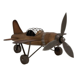 """Benzara - Rustic Finish Contemporary Styled Metal Plane - Bring home an aviation theme by adding this antique metal plane to your interiors. Made of quality metal this metal plane will last for years. The metal Plane will groom your ambience and give it a style quotient. The metal pane can be added to any place of your choice. You can either add it to your showcase, on a dark table top else a place of your choice. Metal plane is unique styled and thus can be added to professional set ups and corporate sectors too.Guests and other visitors will be surprised to check out this lovely Metal Plane. You can also wrap this beautiful Metal Plane to gift your near and dear ones. Put an end to your thoughts and get this metal plane right away. Metal Plane measures 19 inches (Width) x 18 inches (D) x 13 inches (Height); Made of quality metal; Rustic finish; Dimensions: 8""""L x 6""""W x 29""""H"""