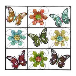 UMA - Bonanza of Butterflies - Colorful butterflies with their wings spread wide and floral blooms are nestled side by side, just as you might expect in the garden