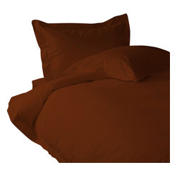 """800 TC Sheet Set 15"""" Deep Pocket with Duvet Set Solid Brick Red, Short Queen - You are buying 1 Flat Sheet (90 x 102 inches), 1 Fitted Sheet (60 x 70 inches), 1 Duvet Cover (88 x 88 Inches) and 4 Standard Size Pillowcases (20 x 30 inches) only."""