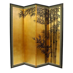 Oriental Furniture - 5 1/2 ft. Tall Gold Leaf Bamboo Room Divider - Evoke images of the Orient with this soft and beautiful, hand-painted gold leaf rendition of bamboo. Note that no two renderings are exactly the same. Subtle, beautiful hand painted wall art.
