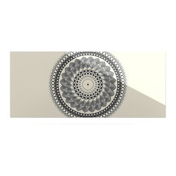 """Kess InHouse - Famenxt """"Black & White Boho Mandala"""" Geometric Metal Luxe Panel (9"""" x 21"""") - Our luxe KESS InHouse art panels are the perfect addition to your super fab living room, dining room, bedroom or bathroom. Heck, we have customers that have them in their sunrooms. These items are the art equivalent to flat screens. They offer a bright splash of color in a sleek and elegant way. They are available in square and rectangle sizes. Comes with a shadow mount for an even sleeker finish. By infusing the dyes of the artwork directly onto specially coated metal panels, the artwork is extremely durable and will showcase the exceptional detail. Use them together to make large art installations or showcase them individually. Our KESS InHouse Art Panels will jump off your walls. We can't wait to see what our interior design savvy clients will come up with next."""