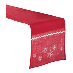Saro - Embroidered Snowflake Table Runner, Red - Embroidered Snowflake Table Runner, Red