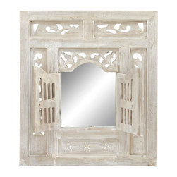 """Benzara - Deco Wood Mirror Decor 28""""H, 24""""W - Size: 24 Wide x 1 Depth x 28 High (Inches); Material: Well seasoned quality wood; Color: Shabby White; Antique wall art; Versatile wall decor; For everyone; Easy to mount on any wall type"""