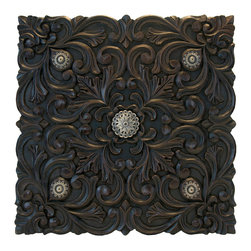 """Everybody's Ayurveda - Floral Motif Wood Carving - Carved Wall Accent Fourish. Made in India. Wood. 14"""" Wide x 14"""" Tall."""