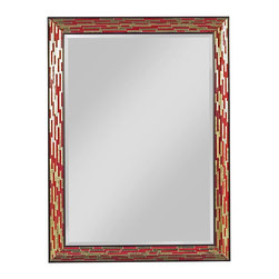 EuroLux Home - New Mirror Red Gold Mosaic Wood Rectangle - Product Details