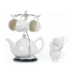 "Concepts Life - Concepts Life White Porcelain Teaset with Stand - Enjoy an afternoon tea with this impeccable classic white tea set and easily store it when not in use. Ideal for small spaces. Set includes one teapot, 6 teacups, and iron carry-all stand with sturdy bamboo base. This high-fired porcelain is impermeable to moisture, odor, and color, so your serveware looks brand new after years of entertaining, and so do you!  Black round bamboo tray with steel handle Hand made Six hooks for hanging cups when not in use Porcelain teapot with 6 porcelain espresso cups Porcelain teapot and cups are chip and stain resistant Dimensions of tray: 6"" diameter Teapot holds 25 ounces Each cup holds 3 ounces"
