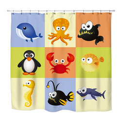 "Surfer Bedding - Eco Friendly  ""Beach Animals"" Kids Beach Shower Curtain - Kids Beach Shower Curtain from our Seaside Surfer Bedding and Bath Collection."