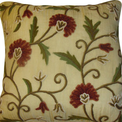 Crewel Pillow Gulmohar RawSilk Silk Organza (20x20)