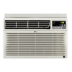 LG - LG Energy Star 8,000 BTU Window-Mounted Air Conditioner with Remote Control (115 - The LG LW8012ER 8,000 BTU Window-Mounted Air Conditioner with Remote Control is perfect for small size rooms up to 350 square feet. You will cool a lot and save even more with this unit's energy saver function, 24-hour on/off timer and a 10.8 Energy Efficiency Ratio. With its stylish full-function remote, you can even get your cool on from across the room. Plus, LG's patented Gold Fin anti-corrosion coating provides a protective shield so the unit lasts longer.8,000 BTU window-mounted air conditioner with full-function remote control (115 volts)|Cooling area up to 350 sq. ft.|Dehumidification up to 2.2 pints per hour|Gold Fin anti-corrosion coating provides a protective shield so the unit lasts longer|Electric thermostat|3 cooling speeds / 3 fan speeds for more cooling flexibility|24-hour on/off timer cools on your schedule|Energy saver function conserves energy and saves you money|4-way air deflection directs cool air where you want it|Tilt-out, easy-clean mesh filter|  lg| electronics| lw8012er| 8000| 8|000| 115v| 115| v| volt| volts| cooling| air conditioner| ac| a/c| window-mounted| window| mounted| 350| 350-| sq|  Package Contents: air conditioner|remote control|2 AAA batteries|mesh filter|installation kit|manual/installation instructions|warranty  This item cannot be shipped to APO/FPO addresses