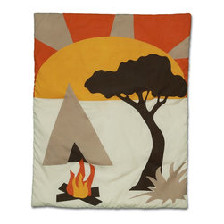 African Dream Crib Baby Bedding - Quilt - Our African Dream collection transforms your nursery into the ultimate safari experience, transporting your budding little adventurer directly to the rugged outback.  Play along with Zebra and Monkey amid the bold colors of an African sunset as they camp out by a warm fire.  With scenery inspired by the true African wilderness, your baby will be captivated with this boldly distinctive and tastefully modern bedding ensemble.