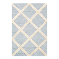 Safavieh - Ackerman Hand Tufted Rug, Light Blue / Ivory 2' X 3' - Construction Method: Hand Tufted. Country of Origin: India. Care Instructions: Vacuum Regularly To Prevent Dust And Crumbs From Settling Into The Roots Of The Fibers. Avoid Direct And Continuous Exposure To Sunlight. Use Rug Protectors Under The Legs Of Heavy Furniture To Avoid Flattening Piles. Do Not Pull Loose Ends; Clip Them With Scissors To Remove. Turn Carpet Occasionally To Equalize Wear. Remove Spills Immediately. Bring classic style to your bedroom, living room, or home office with a richly-dimensional Safavieh Cambridge Rug. Artfully hand-tufted, these plush wool area rugs are crafted with plush and loop textures to highlight timeless motifs updated for today's homes in fashion colors.