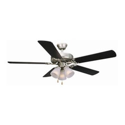 Design House - Indoor Ceiling Fans: Design House Millbridge 52 in. Satin Nickel Ceiling Fan 153 - Shop for Lighting & Fans at The Home Depot. The 52 in. Millbridge Downrod Collection of fans is transitional styling available in multiple finishes and styles. They are designed to be attractive and affordable. Tri-mount adaptable this fan can be mounted with a downrod, in a close-up configuration or on a vaulted ceiling. A 3/4 in. diameter by 6 in. downrod is included. They feature a 3-speed pull chain control and reversible motor for comfort year round. It installs with or without the light kit. The satin nickel finish fan has five reversible blades, one side is a black finish and the other side is a light maple finish. Beautiful and functional for year round use.