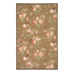 "Flor FLO-8941 Caramel Rug - 2'6""x4' - Flor FLO-8941 Caramel: Traditional rugs inspired by Persian rugs, Antique Oriental rugs or other traditional area rugs are available now. ModernRugs. om is now also featuring traditional rug designs. Traditional Persian and Oriental rugs from ModernRugs. om are now available in a variety of colors and styles, and complement any space. Our traditional Persian rugs provide an elegant look. These Traditional antique Oriental rugs are timeless and add a touch of class to your home. This Botanical area rug is Hand Hooked in China with 100% Wool. The specific colors of this rug include Caramel, Brown, Rose, Burgundy, Tan, Ivory. he primary color of this rug is beige."