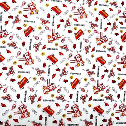 "SheetWorld - SheetWorld Fitted Pack N Play Sheet - Fire Trucks - Made in USA - This 100% cotton ""woven"" pack n play (large) sheet features the cutest fire trucks print on a white background. Our sheets are made of the highest quality fabric that's measured at a 280 tc. That means these sheets are soft and durable. Sheets are made with deep pockets and are elasticized around the entire edge which prevents it from slipping off the mattress, thereby keeping your baby safe. These sheets are so durable that they will last all through your baby's growing years. We're called sheetworld because we produce the highest grade sheets on the market today. Size: 29.5 x 42."