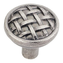 Jeffrey Alexander 3171-BNMDL Cabinet Knob - Small - Ashton Series - Distressed P - This distressed pewter finish round cabinet knob with braided design is a part of the Ashton Series from Jeffrey Alexander. A perfect blend of craftmanship in traditional and contemporary design to complement any decor.