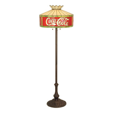 "Meyda Tiffany - Meyda Tiffany Antique Reproductions Floor Lamp in Tiffany Items - Shown in picture: Coca-Cola Floor Lamp; One Of The Most Recognizable And Iconic Symbols Of Our Time ""Coca - Cola"" A True American Original Has Teamed Up With Another True American Original ""Meyda Tiffany"" To Offer These Beautiful One Of A Kind Stained Glass Floor Lamps."
