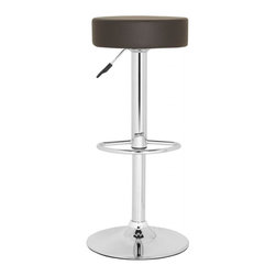 """Safavieh - Jude Barstool - The ample cushion of the brown faux leather and chrome Jude Barstool gives you the perfect reason to linger over coffee or cocktails. With 360-degree swivel and adjustable seat height from 25.6"""" to 31.5"""", friends will be popping in much more often."""