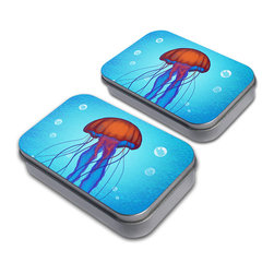 "Made on Terra - Neon Jellyfish Tin Set - Admit it. You're kind of sentimental and you've been longing for a fun spot to store your treasured trinkets. It doesn't have to be anything big or fancy, but a boring box just won't do. And now you've finally found something just right in this set of two, small Made On Terra decorative tins. The lid is printed with a fun design that expresses you just so and it comes off easily to reveal a small space to keep your cool stuff. It's simple, but perfect. You know that the tins also make great packaging for gift cards, jewelry or other small gifts, but you're not sure you're willing to give them up just yet. No one would blame you for that. Made of light-weight metal, the Made On Terra decorative tins will store your trinkets with style. Choose from Made on Terra's many fun tins. Inner dimensions measure 3 3/4"" x 2 1/4"" x 3/4"". Made of light-weight metal. Set of two."