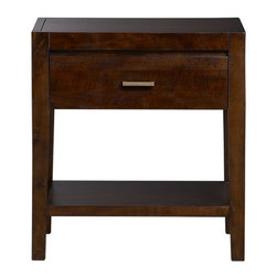 Dawson Nightstand - Sustainable solid mango wood, with characteristic open grain and knots, and a rich clove stain set the tone for this clean-lined, beautifully detailed collection. Handsome nightstand provides one shelf and one drawer with a sleek cast brass pull in an antiqued finish.
