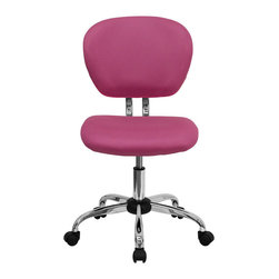 Flash Furniture - Mid-Back Pink Mesh Task Chair with Chrome Base - This value priced mesh task chair will accommodate your essential needs for your home or office space. This chair will add a splash of color to your office for a non-traditional look. Chair features a breathable mesh material with a comfortably padded seat.