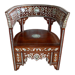 Badia Design Inc. - Syrian Mother of Pearl Inlaid Handcrafted Chair - Syrian Mother of Pearl Chair handcrafted from wood by our skilled artisans. This is a very elegant piece of furniture that can be used to decorate any room in your home and can also be used in weddings, parties or banquets.