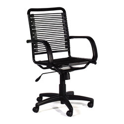Euro Style - Office Chair - Bungee - A stylish twist on the traditional business chair, the multi-functional Bungee Office Chair features a unique bungie-cord back that provides ergonomic support yet allows cooling air to flow through. The powder epoxy coated steel frame and polyurethane armrests ensure lasting durability. * Bungee High Back Office Chair. Powder Epoxy Coated Steel Frame. Extra Strong Bungies. Polyurethane armrests.. Tilt, swivel and gas lift. Some Assembly Required. Commercial Grade. Overall: 23in W x 27in D x 38-43in H. Seat: 17.5-23in H x 19in W