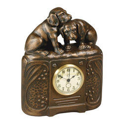 OK Casting - Puppy Pals Desktop Clock Multicolor - 0585-VG - Shop for Clocks from Hayneedle.com! You may find that you can't help but fall in love well puppy love with the Puppy Pals Desktop Clock. With its pair of nuzzling puppies atop a handsomely carved base this home decor accessory is sweet as can be. And as if the puppies weren't enough to swoon over this adorable desktop clock is crafted of durable hand-cast resin with a vintage gold hand-finish. It features quartz movement operation and a white face with a gold-colored rim.About OK Casting LLCSince 1993 OK Casting has been serving the home gift and private artist market with memorable home decorative accessories. Hand-made and manufactured in the United States OK Casting's products are created from the finest and most durable resins. Whether for their lamps wall decor bookends or statutes OK Casting is known for exquisite craftsmanship and attention to detail. Inspired by lodge wildlife and equine artwork each piece radiates beauty and quality for your home cabin or lodge decor.