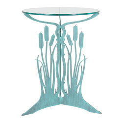 Cricket Forge - Cattail Table, Verdi - This unique and functional table depicts the beauty and charm of the wetlands with flowing grass and gently swaying cattails. The perfect size and height for a side table in your home or sunroom, on your porch, deck or patio.  Available in our signature Verdi or Unfinished Steel, both include a 19_ diameter, 3/8_ thick glass table top.  Unfinished Steel: retains natural bare steel appearance when kept indoors. Table will develop a rust patina when used outside or exposed to water or high humidity.