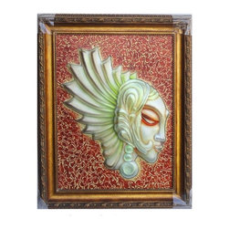 "Golden Lotus - Artistic Liuli Glass Lady Head Figure Frame Art - Outside Dimensions: 33""Wx40.2""H  (2.75""Thickness)"
