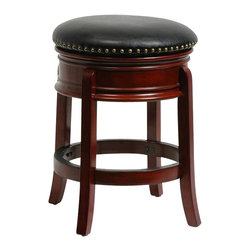 "Boraam - Boraam 24"" Hamilton Swivel Stool in Cherry - Boraam - Bar Stools - 43924 - The Hamilton Swivel Stool by Boraam Industries is composed of solid hardwood in a brandy finish, and engineered to perfection. Rich bonded leather upholstery and authentic brass nail head trim lend a note of sophistication to this classic counter stool. This wooden barstool also features traditional molding on the apron, high density foam padding, and a steel swivel plate with full ball bearing design for an effortless 360-degree turn. Each leg has a strategic flare design that provides durability and balance to those who sit."