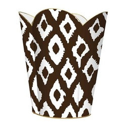 Marye Kelley - Brown Ikat  Wastebasket - Brown Ikat  Wastebasket