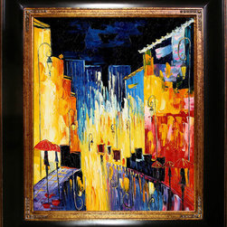 overstockArt.com - Kopania - Street Oil Painting - Street is a vividly colorful image of an abstract city scape using expressive color and line. Enjoy the energy this hand painted oil canvas brings to any room of your house. Justyna Kopania is from Warszawa, Poland. In her words when she paints she tries to show the 'world', which could be seen by looking at reality that surrounds us, from another perspective, unusual, remote, sometimes through the eyes of the child, sometimes music, composer, or someone who looks lichen on the sea, the moon , the sky and the stars ..., the river ... looks out the window and looks out into the street. Walking down the street looking at people's faces. In rain, snow or fog. Perhaps the world that surrounds us really is quite different than we perceive it every day.
