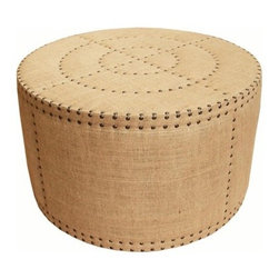 Bullseye Ottoman - This is one of my favorite ottomans. It's made out of a rustic burlap fabric. It can make a formal room feel a little more casual.