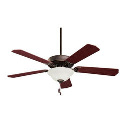 Emerson - Emerson Builder Unipack Ceiling Fan in Oil Rubbed Bronze - Emerson Builder Unipack Model CF701ORB in Oil Rubbed Bronze with Reversible Dark Cherry/Mahogany Finished Blades. Single Bowl Light fixture included with Builder Unipack fans. ORB fans have Frosted Ribbed glass. BS and WW Fans have Frosted Glass.