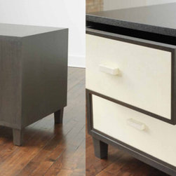 2-Drawer Oak and Vellum Nightstand with Wood Top and Sides - 2-Drawer Oak and Vellum Nightstand with Wood Top and Sides: