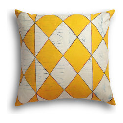 """Carrier Collective - """"Dakota"""" Decorative Pillow - Crafted of linen/cotton fabrics, Carrier Collective Art Pillows are created from the original Mixed Media and Acrylic Paintings of the artist/owner Angie Carrier."""