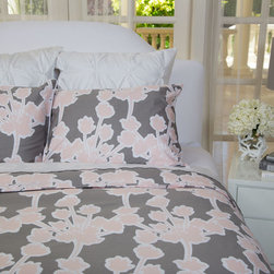 Floral Print Duvet Cover, The Ashbury in Gray and Pink - This 300 thread count floral gray and pink bedding is punctuated with retro innocence and modern practicality.