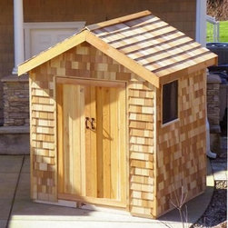 "Star Cedar Sheds 9 x 9 ft. Signature Storage Shed - Additional featuresInterior dimensions: 8.75W x 8.4D x 9.3H feetDoor dimensions: 3.75W x 6.25H feetWeight: 2087 lbs.1-year limited warrantyPanelized sections of walls roof and floorCedar trim boards for Facia and cornersPre-built doorsIncludes all hardware and screws for assemblyIncludes plywood flooringIncludes easy-to-follow step-by-step instructional video If outdoor storage has always been an issue for you you'll be thrilled with the Star Cedar Sheds 9 x 9 ft. Signature Storage Shed Kit. You'll have no trouble storing it all in here. Featuring Shakertown cedar shingle siding for extra charm this shed has a functioning window. Place the door on either a gable or eave end. The panels are ready-to-assemble with a few standard household tools and assembly is a weekend project for one or two people.Star Cedar sheds are made of natural environmentally-friendly materials that are made to last a lifetime. Western Red Cedar - often called ""the tree of life"" - is one of nature's most durable and long-lasting materials. The cedar used in these sheds is harvested from sustainable forests where it is regenerated wildlife habitats are preserved and the product is fully able to be recycled and reused. With more natural preservatives than virtually any other species cedar is resistant to insects rot decay and warping.Tools you'll needHammer4-inch or larger clamp(s)Concrete deck blocks or foundationTape measureScrew driver (powered)LadderStain or paint to finish About STAR Cedar ShedsSTAR Cedar Storage Sheds has been providing quality storage solutions for over twenty years with a focus on recycling and maximizing the utility of nature's most durable resource. And employees are committed to the ongoing preservation and enhancement of forest sustainability. STAR is owned by the Clarke Group of Companies a fully integrated forest industry company and supplier of fine cedar products."