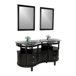 Fresca - Unico Espresso Vanity w/ Mirrors Cascata Chrome Faucet - This is a double sink version of the Simpatico Vanity (FVN3330ES). This double sink espresso vanity is really a contemporary twist on baroque furniture.  Clear glass basin and a wide mirror really make this ensemble great for those looking to not just update their bathroom, but keep it classic.  Many faucet styles to choose from.