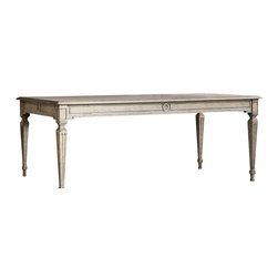 Eloquence Inc - Gustavian Dining Room Table - I love this table. I would use this Eloquence Gustavian Dining Table for my desk if I had a bigger space. It's has rich patina yet refined and handsome in pale natural wood, with geometric carved detailing. Gorgeous weathered surface gives this piece an authentic antique look. In Oak Driftwood finish.