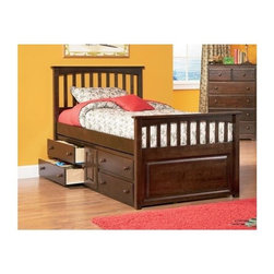 Atlantic Furniture - Mates Bookcase Bed w Underbed Storage Chest i - Choose Size: FullIncludes 14 pieces engineered hardwood slat kit. Comes with underbed storage chest which features 4 drawers with cabinet. Made of solid hardwood construction. Mission design headboard. Sturdy and durable. Built to last. Twin: 79.5 in. L x 44 in. W x 47.25 in. H. Full: 79.5 in. L x 58.25 in. W x 47.25 in. HOur Mates Bed is made from solid eco-friendly hardwood, this bed is sturdy and durable.