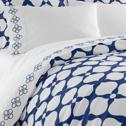 Jonathan Adler - Jonathan Adler Hollywood Duvet Cover Navy - Hollywood collection features 400 thread count, 100% cotton percale in Jonathan Adler's signature patterns. Patterned duvets are complemented by coordinating sheets and shams. Chic and classique—very you!