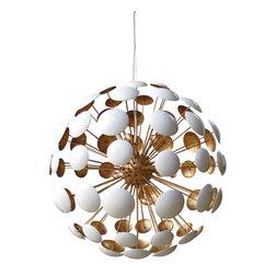 Solaria Lighting - Bilbao Gold Leaf Chandelier - White Enamel with Gold Leaf