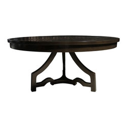 """Noir - Noir 3 Leg Round Dining Table Distressed Brown - This traditional dining table from Noir provides an eye-catching characteristic with its one-of-a-kind base. Finished in a rich distressed brown, the furnishing's three legs and distinct stretcher come together in timeless style. 60""""Dia x 30.5""""H; Birch; Distressed brown finish"""