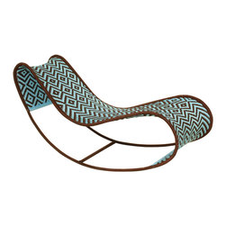 Bayekou Rocking Chaise by Moroso M'afrique - This rocking chaise is fabulous. The jellybean shape is totally fun and the weave pattern reminds me of a Navajo print. I'm always a sucker for the blue and brown color motif so I was sold from the start. This would be a great focal point for an eclectic porch.