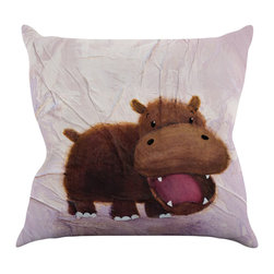 """Kess InHouse - Rachel Kokko """"The Happy Hippo"""" Throw Pillow (16"""" x 16"""") - Rest among the art you love. Transform your hang out room into a hip gallery, that's also comfortable. With this pillow you can create an environment that reflects your unique style. It's amazing what a throw pillow can do to complete a room. (Kess InHouse is not responsible for pillow fighting that may occur as the result of creative stimulation)."""