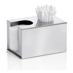 "Blomus - Nexio Dispenser for Cotton Buds - Polished - ""A Place for Everything and Everything in its Place"" is more than a simple saying. And your best tool to stop the countertop sprawl of beauty supplies in the bathroom resides in this one handsome stainless steel dispenser."
