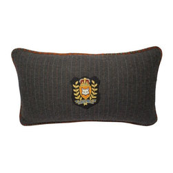 Used The Royal Hunt Signature Wool Stripe Lumbar Pillow - Inspired by a men's suit, silk tie and luxurious wool, The Royal Hunt signature pillow features a vintage designer tie as cording. This perfectly selected feather/down pillow is crafted with beautiful grey pinstripe wool and backed in gorgeous camel wool (all clean fabrics and new feather/down). This pillow is marked with The Royal Hunt bullion patch with their iconic fox to symbolize a keen eye, the art of the hunt, and just a wee bit of prep.